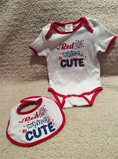 NEW Patriotic RED WHITE & CUTE one piece and Bib set 6-12 months