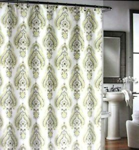 Cynthia Rowley Shower Curtain Medallion Floral White Yellow Grey Beige