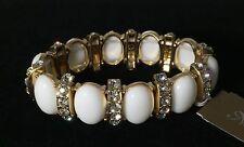 Natasha Brand White Bubble Sparkly Rhinestone Crystal Gold Stretch Bracelet $58