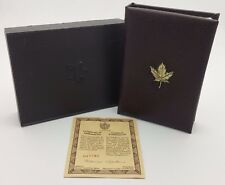 1989 Royal Canadian Mint $100 Gold Coin Proof Empty Leather Brown Box & COA*