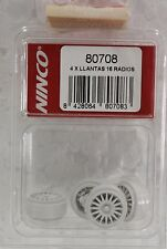 NINCO 80708 WHITE PLASTIC WHEELS 18MM (4) NEW 1/32 SLOT CAR PARTS