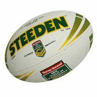 Steeden NRL Match Ball High Grip Senior Touch Football In White