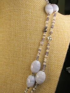 Gorgeous RARE David Yurman Tweejoux lace agate amethyst sterling necklace $2150!
