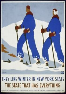New York State Skiing By J. Rivolta   Vintage Poster   A1, A2, A3