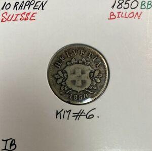 SUISSE - 10 RAPPEN 1850 BB - Pièce de Monnaie en Billon // TB