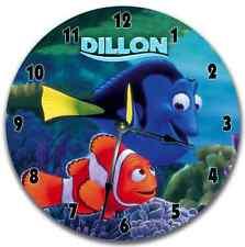 "10.5"" NEMO Wall Clock Nursery Art Personalized Custom Room Decor"