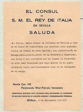 Documento de El Consul de S. M. El Rey de Italia en Sevilla año 1935 (CZ-899)