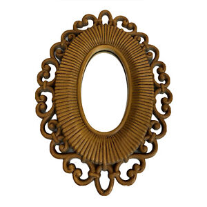 """Vintage Homco Accent Mirror Midcentury Oval #2615 9.5"""" Made in USA"""