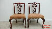 Pair Antique Mahogany Chippendale Dining Room Side Chairs Ball Claw A