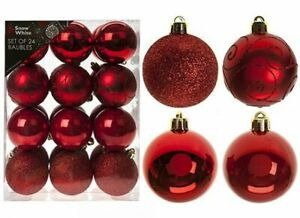Big Xmas Tree Decoration Luxuary 24pcs 60mm Baubles Ball Home Party Ornament Red