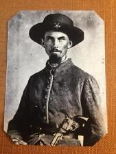 CW Model 1849 Colt Pocket revolver and knife tucked into waist tintype C609RP