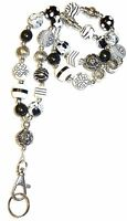 Chunky B&W Fashion Women's Beaded Lanyard break away magnetic clasp 34 inches