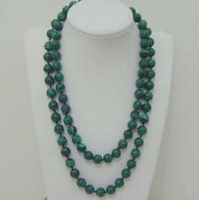 Long 10mm Green Malachite Gemstone Bead Round necklace 35 Inch
