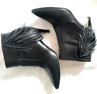 Nine West Womens Jetra Black Leather Boots with Fringe & Stacked Heel - Size 10