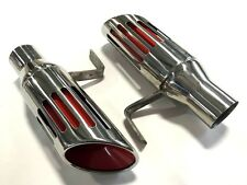 71 72 73 74 B-Body Mopar Red Slotted Exhaust Tips Set Charger Road Runner 2.5""
