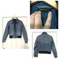Vintage Wrangler Womens Jacket Blue Denim Size L Retro Zipped Bomber (C533)