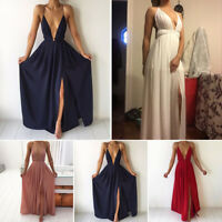 Women Sexy Deep V Neck Long Evening Party Gown Backless Split Maxi Dress Solid