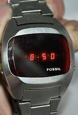 Fossil Men's Retro LED Digital Bracelet Watch Stainless Case & Band JR-8852