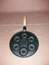 6 Hole Cast Iron Doughnut Making Pan black with wooden handle
