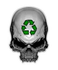 2 Recycle Skull Decal - Green Earth Skull Sticker Environment ipad kindle decals
