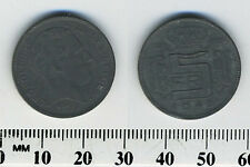 Belgium 1943 - 5 Francs Zinc Coin - WWII - German Occupation - French Legend -#1