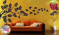 Wall Stickers Vinyl Decal Bird Tree Leaves Span Wall Decor Mural  ig027