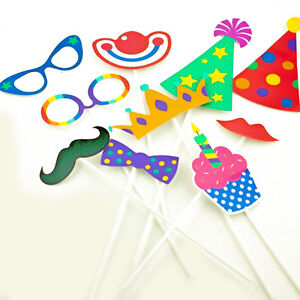 32x Clown Party/Animal Photo Booth Props Set Kids Adult Birthday Selfie Picture