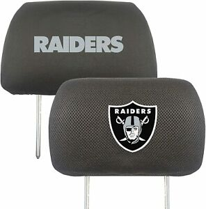 NFL Las Vegas Raiders Head Rest Cover Double Side Embroidered Pair by Fanmats