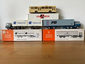 Vintage Wiking Germany HO 1/87 Gauge Models 2 Container Trucks & Airport Coach