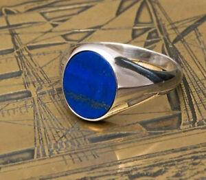 925 Sterling Silver Overlay Lapis Lazuli Gemstone Huge Big Boys Mens Ring