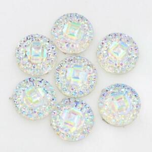 50 PCS 12mm Resin Round Rhinestone Flatback Embellishments Jewelry Craft DIY