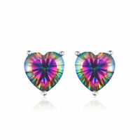 4ct Stunning Mystic Topaz 7mm Heart Stud Earrings Solid 925 Silver Fashion Gift