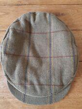 Vintage Tweed Flat Cap 7 1/8 58 Hat Button