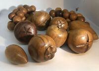 Vintage Wooden Fruit Lot Mid-Century Tiki Decor Banana Grapes Carved Wood Apple