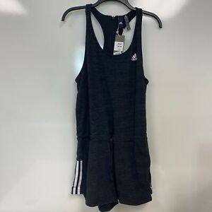 Adidas Womens Dark Gray Sport 2 Street Racerback One-Piece Romper Sz Medium $50