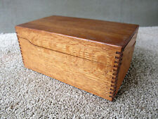"Antique File Box Holds 3""x5"" Cards Vtg Primitive Desk Office Recipe, Oak Wood"