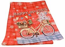 Happy Holidays Bike Bicycle Christmas Table Runner