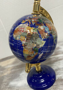 Semi-Precious Gemstone World Globe, Blue Lapis Lazuli Sea!
