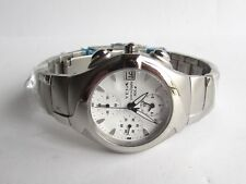 YEMA 100m Chronograph Watch Stainless Case & Bracelet White Dial New