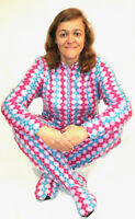 Unisex Adult GÜD NIGHT - Pink and Blue Plaid Footed One Piece Pajamas - Adult