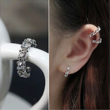 HOT Silver Ear Cuff Wrap Rhinestone Cartilage Clip Earring Non Piercing 3C ch