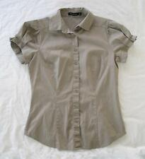The Limited -NWOT dark Beige Shirt / Blouse Short Sleeve fitted Cotton Spandex S