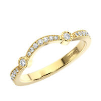 0.20 Ct Round Brilliant Cut Diamond Half Eternity Wedding Ring 9K Yellow Gold