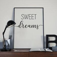Sweet Dreams Bedroom Sleep Bed Wall Décor Sign Poster Print - Free Postage