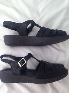 ECCO Black Leather Peep Toe Sandals EU 40