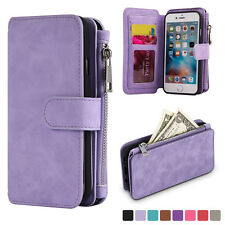 Lavender Genuine Leather Flip Wallet Phone Case Cover for iPhone 6 6s Plus 5.5""