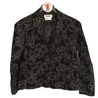 FLAX Black Flower Embroidered Jacket Blazer Size S Cotton Corduroy Button Front