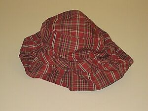 BABY GAP RED PLAID BUCKET CAP HAT WITH CHIN STRAP GIRL'S SIZE 3-6 MONTHS NEWBORN