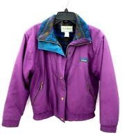 Vintage LL Bean Womens Small Jacket Purple Full Zip Aztec Fleece Lined Coat