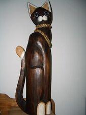 XL Statua Gatto Decorativa 60 cm Legno Lavorato A Mano da Bali Figura in legno